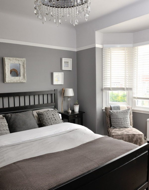 A small strip of a light color on top of a darker shade will still add visual height to the ceiling and dimension to the room's decor.