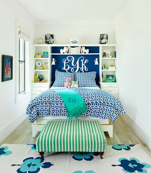 Built-ins make the best of your small space bedroom and create a seamless look.