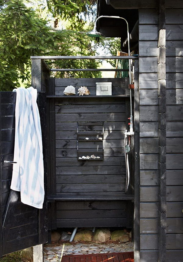 Awesome Gray Outdoor Shower.