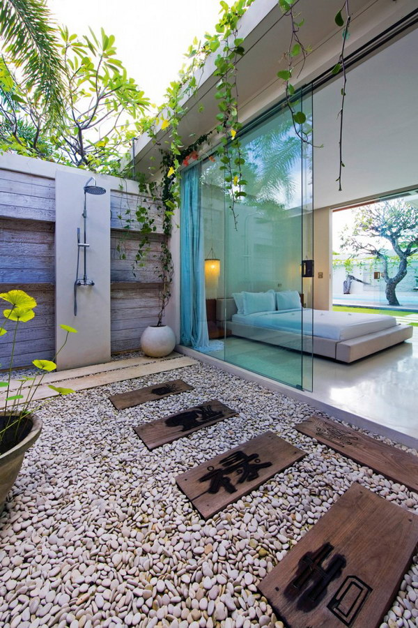 Asian-inspired Luxury Outdoor Shower.