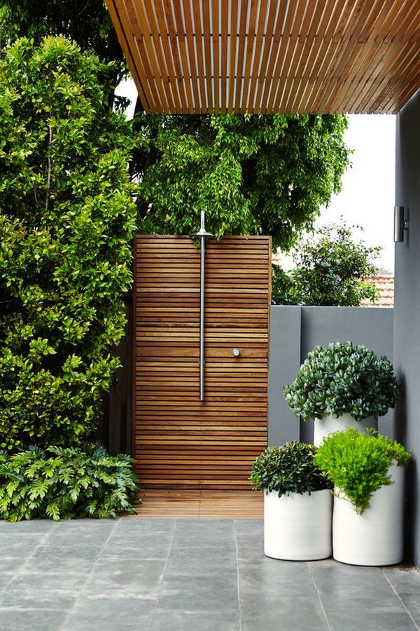 Wood-Paneled Outdoor Shower.