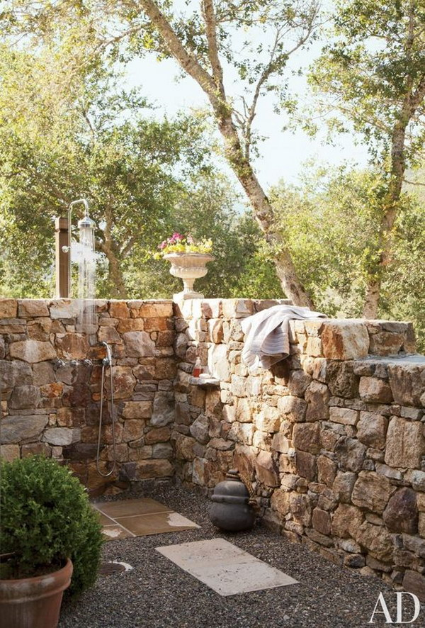 Stone Walled Outdoor Shower.