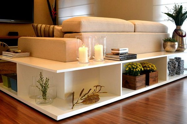 Stylish Shelving Behind the Couch.