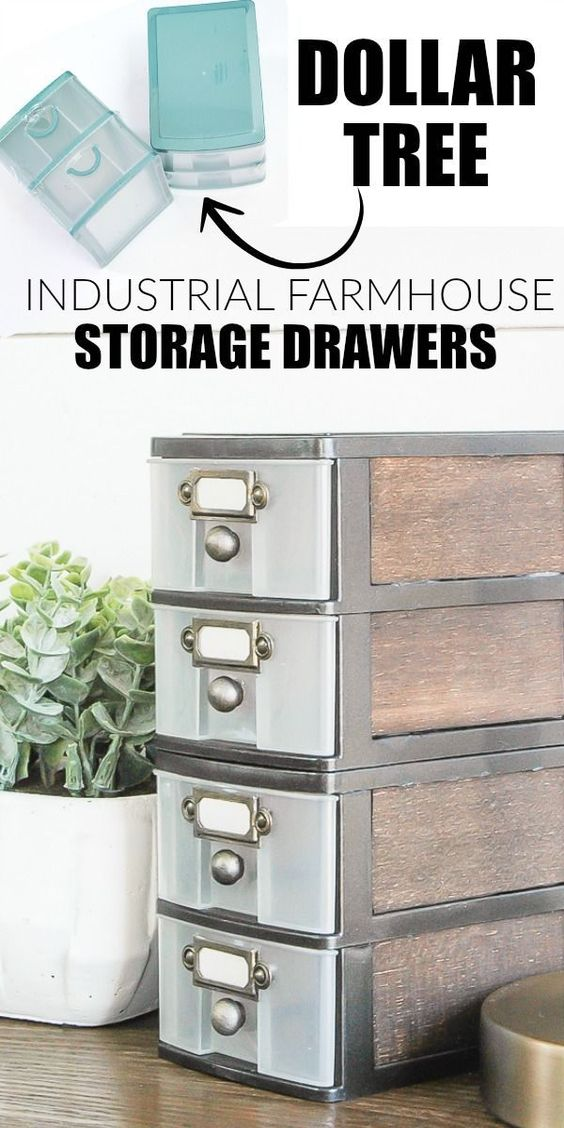 DIY Dollar Store Farmhouse Storage Drawers.