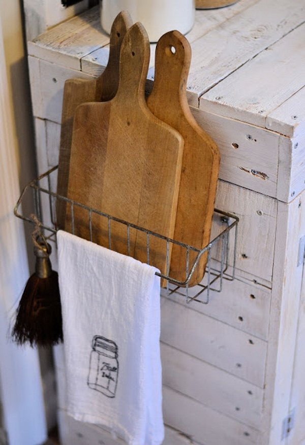 Hanging Wire Basket for Storing The Cutting Boards.