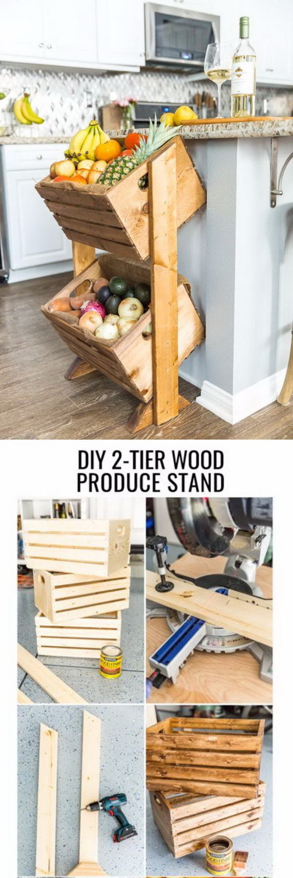 DIY Wood Crate Produce Stand.