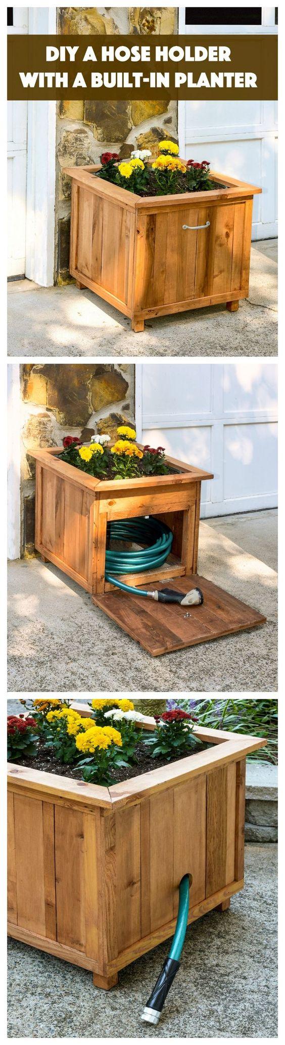 DIY Pallet Wood Hose Holder With A Planter Built In.