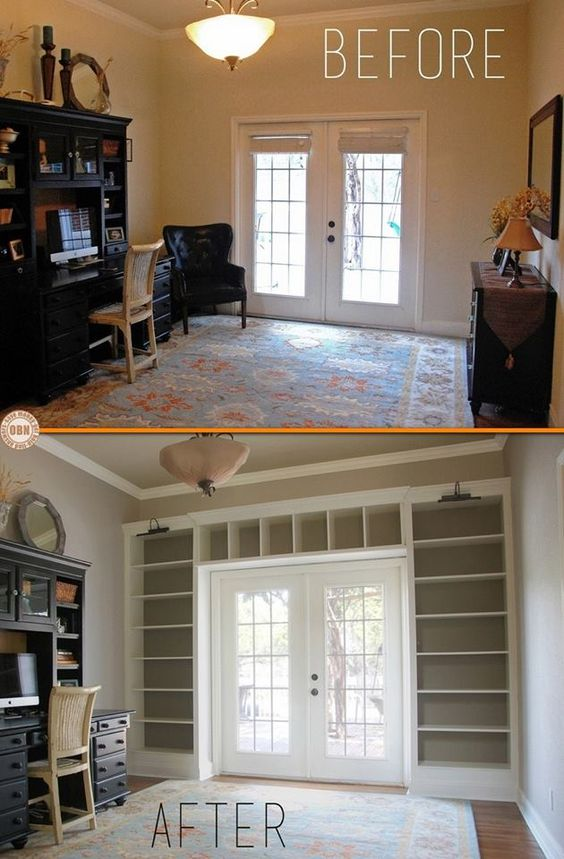 Add built-in bookcases around th door using Ikea shelves.