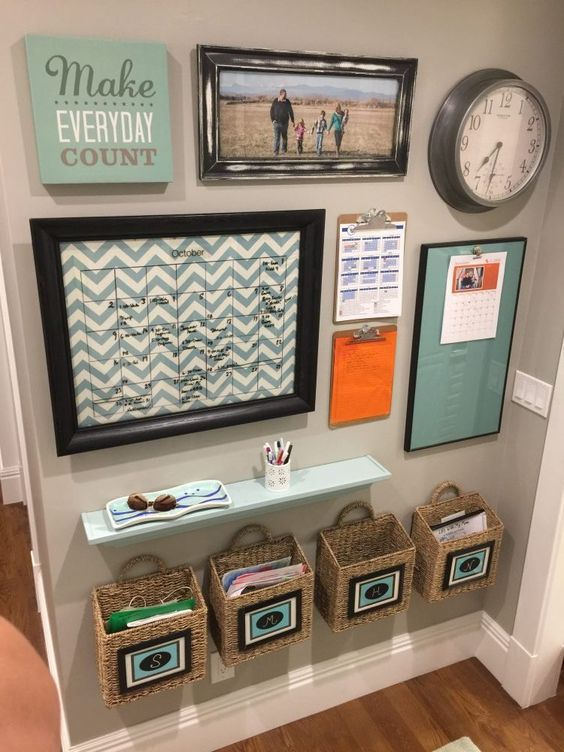 Make use of the entryway space and build your family command center.