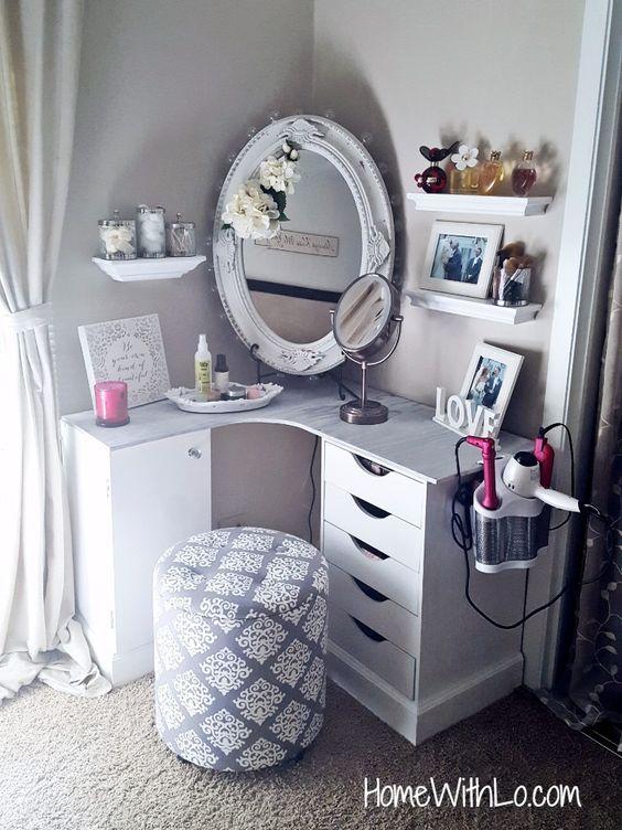 Build a makeup vanity to fit in the corner of your bedroom.
