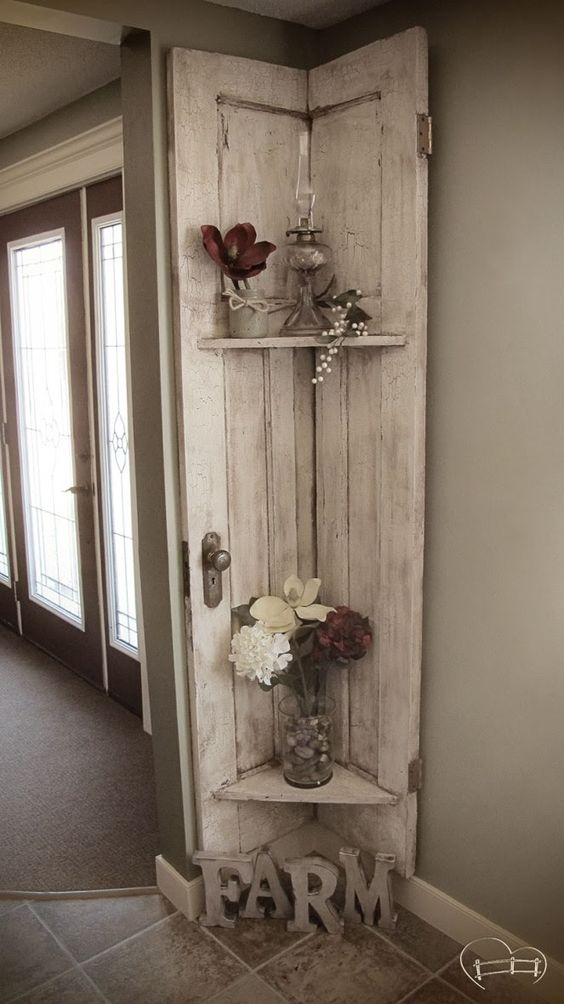 Turn your old barn door into a rustic shelf.