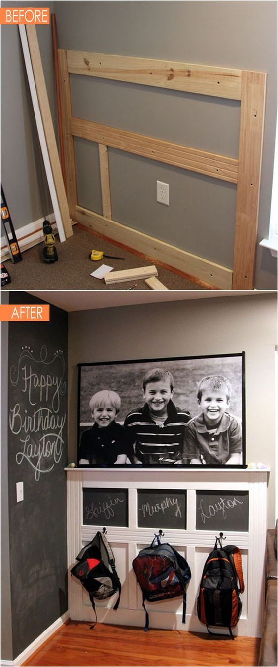 Create a backpack wall using the corner space between kitchen and family room.