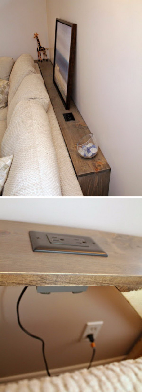 This DIY sofa table has a built-in outlet which allows you plug in your electronics easily.