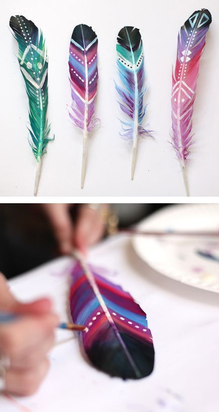 DIY Painted Feathers.