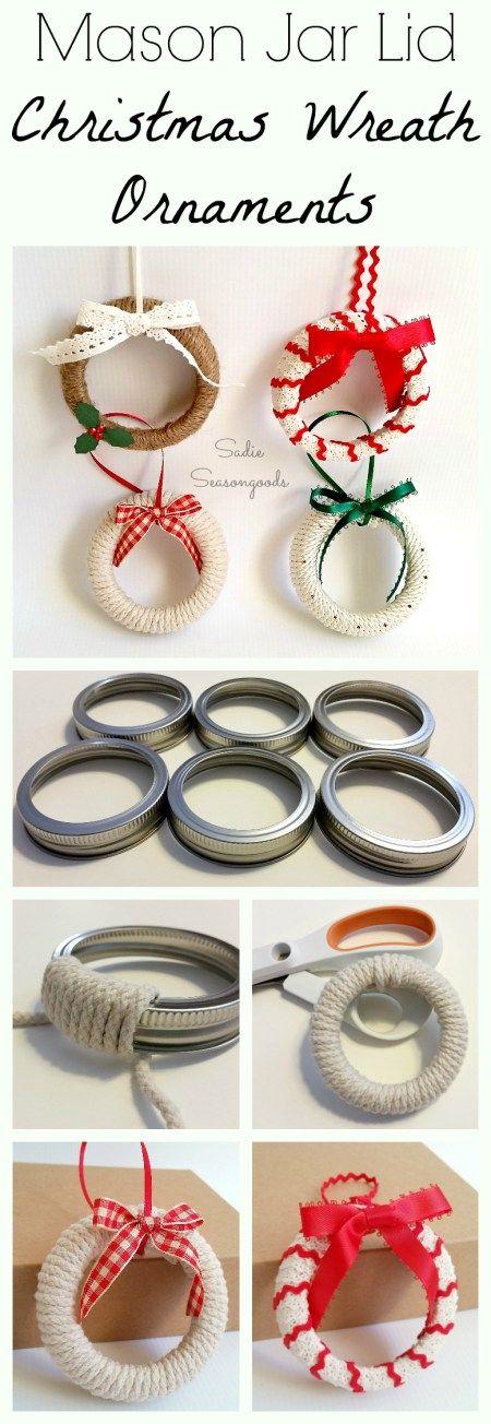 Mason Jar Lid Wreath Ornaments.