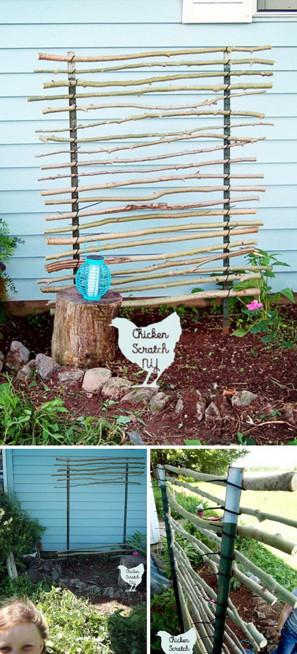 DIY T-Post Trellis Using Branches and Zip Ties.