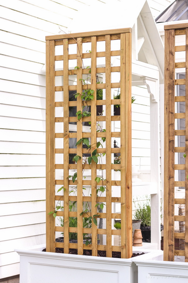 DIY Planter Box with Screen Trellis .