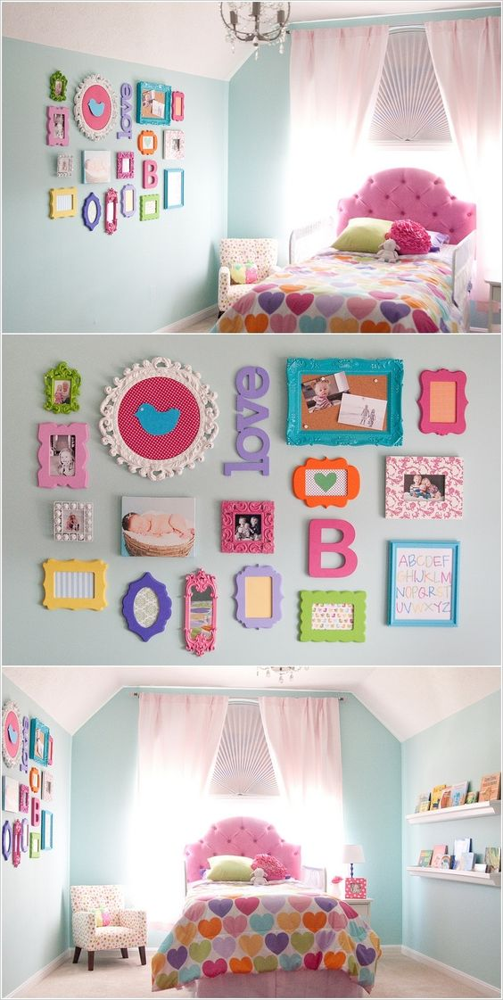 Multi-colored picture frames & wall decor.