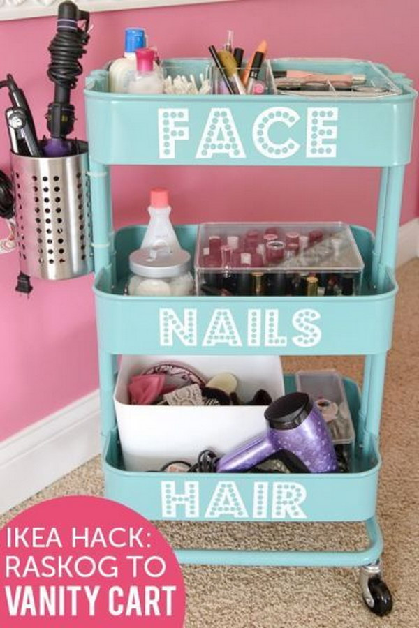 DIY Beauty Station from an Ikea Rolling Cart.