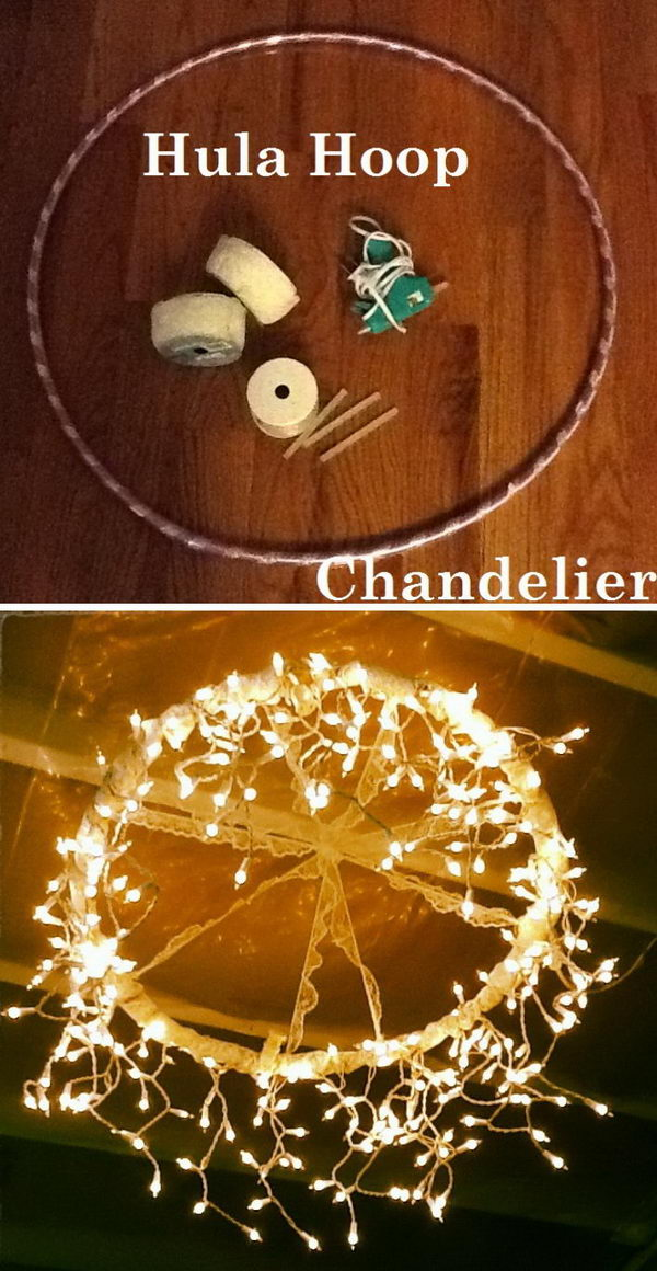 DIY Hula Hoop Chandelier.