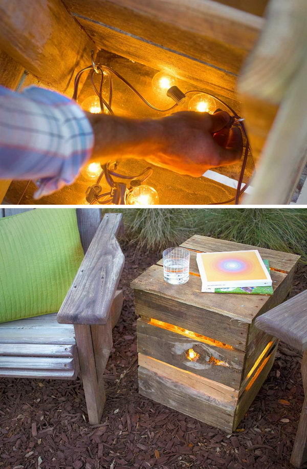 DIY Lights from Recycled Pallet.