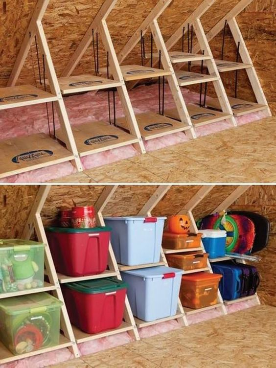 Build a Storage System with Wooden Attic Shelves.