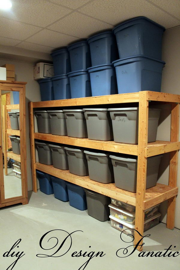 Build a Simple Wood Shelf Unit to Hold Storage Bins in the Attic.