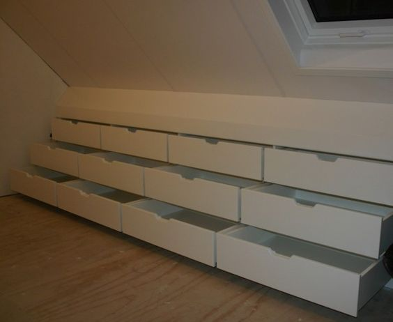 Find Space In The Attic With Bank Of Drawers Built Into The Eaves.