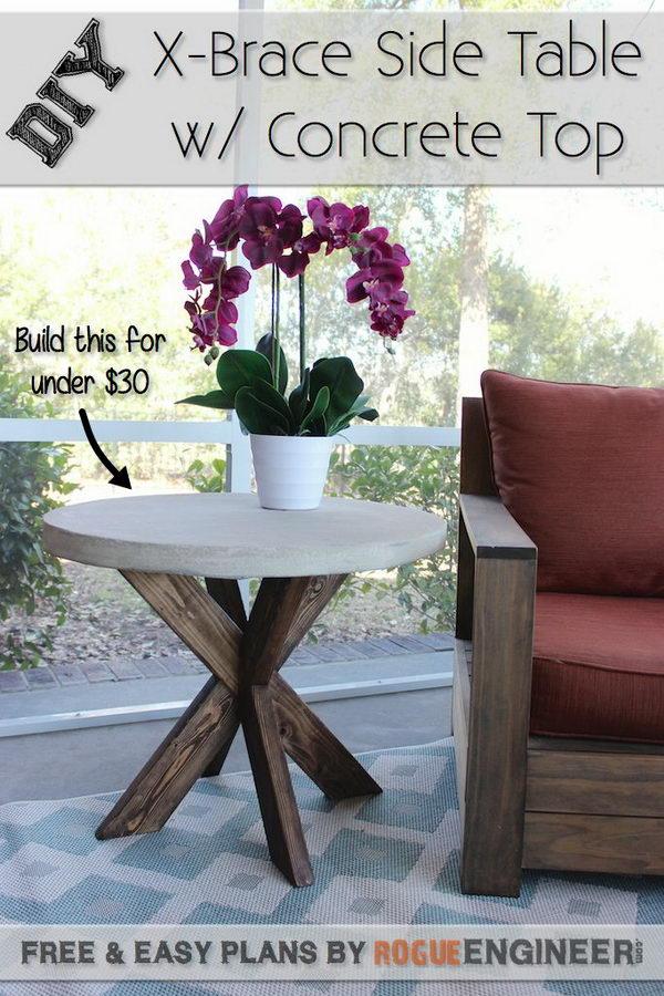 DIY X-Brace Concrete Side Table.