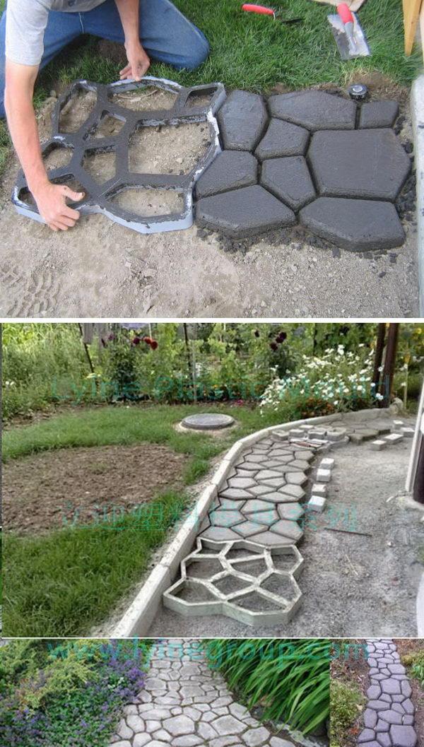 DIY Cobblestone-Look Concrete Pathway.