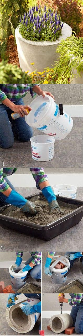 DIY Concrete Planter.