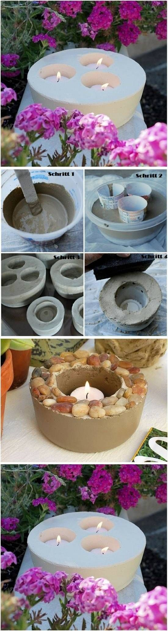 DIY Concrete Candle Holders.