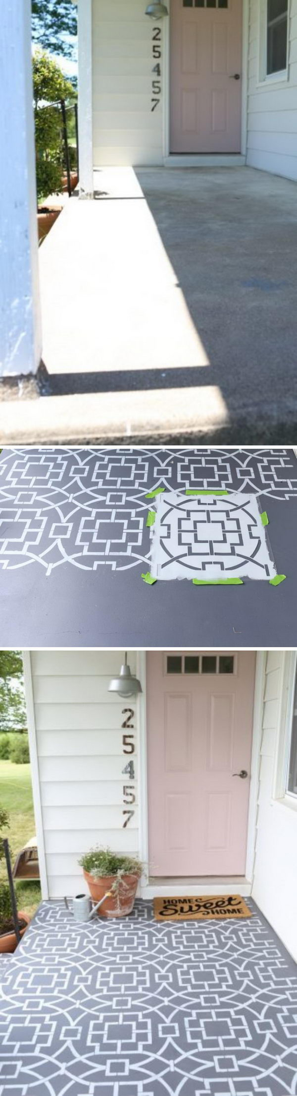Stencil Your Concrete Front Floor to Create a Cement Tile Look.