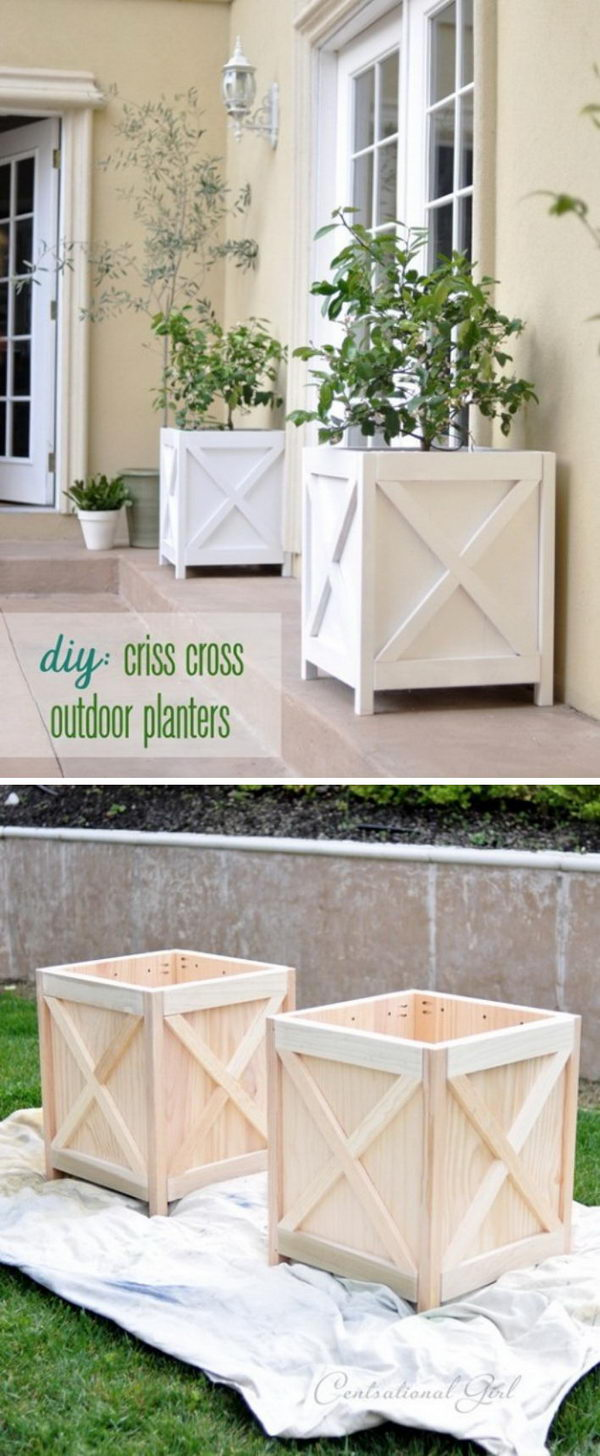 Make Cute Criss Cross Planters for Your Porch.
