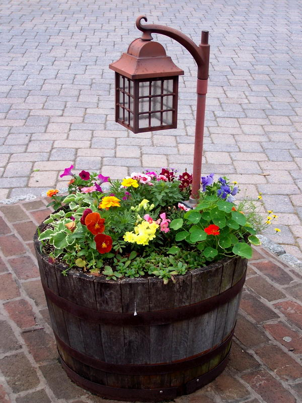 Illuminate Pathways Using Wine Barrel Planter with Lamp Post.