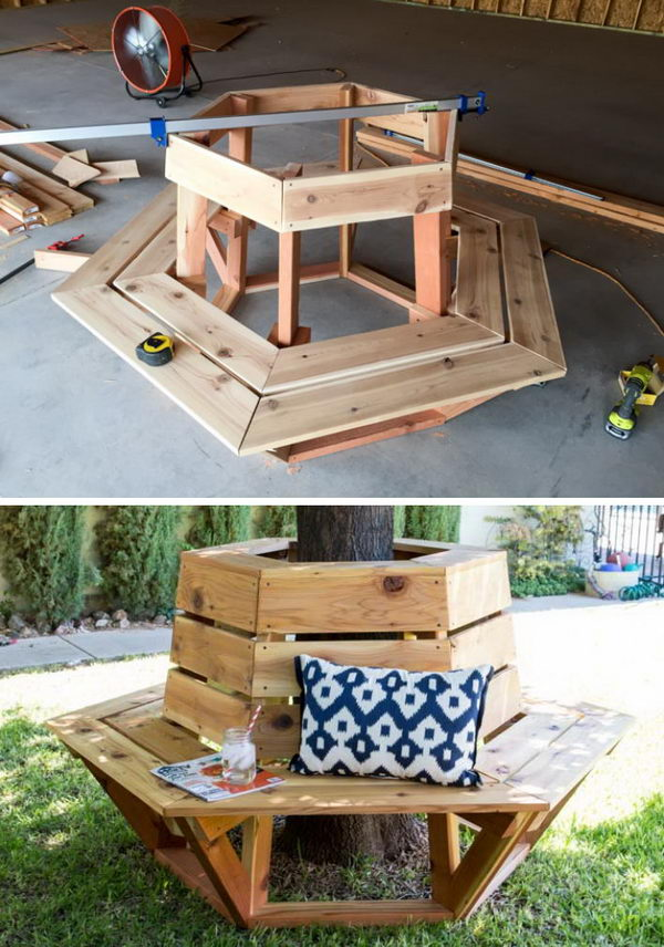 Build A Hexagon Cedar Bench for the Front Yard Tree.