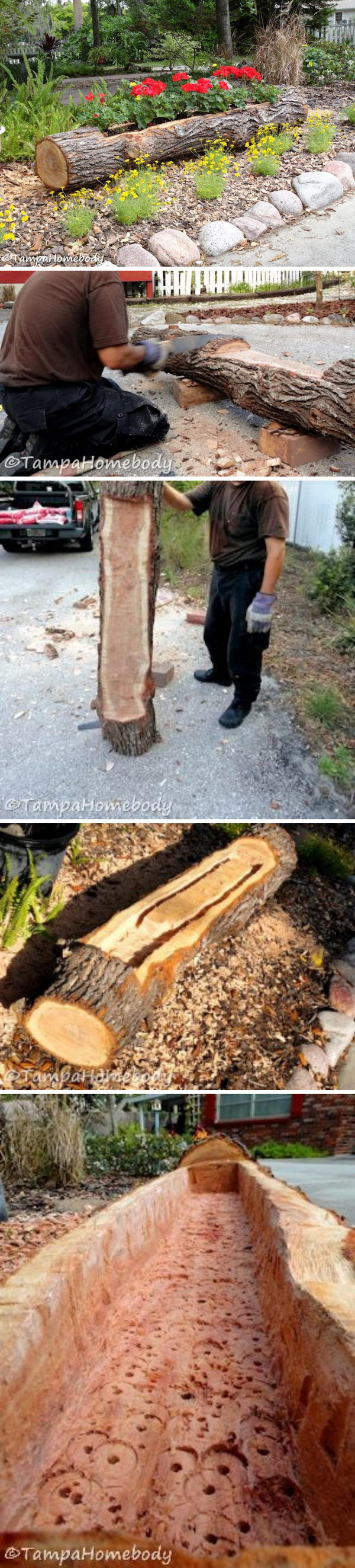 DIY Beautiful Landscaping with Tree Logs.