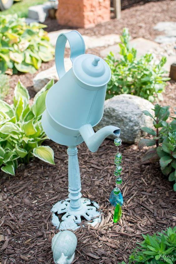 DIY Tea Pot Garden Art.