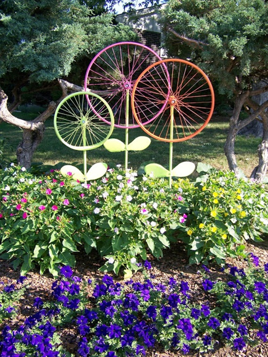 Old Bicycle Rims Painted Bright Colors Make