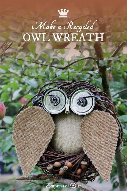 Owl Wreaths Using Jar Lids and Zipper.