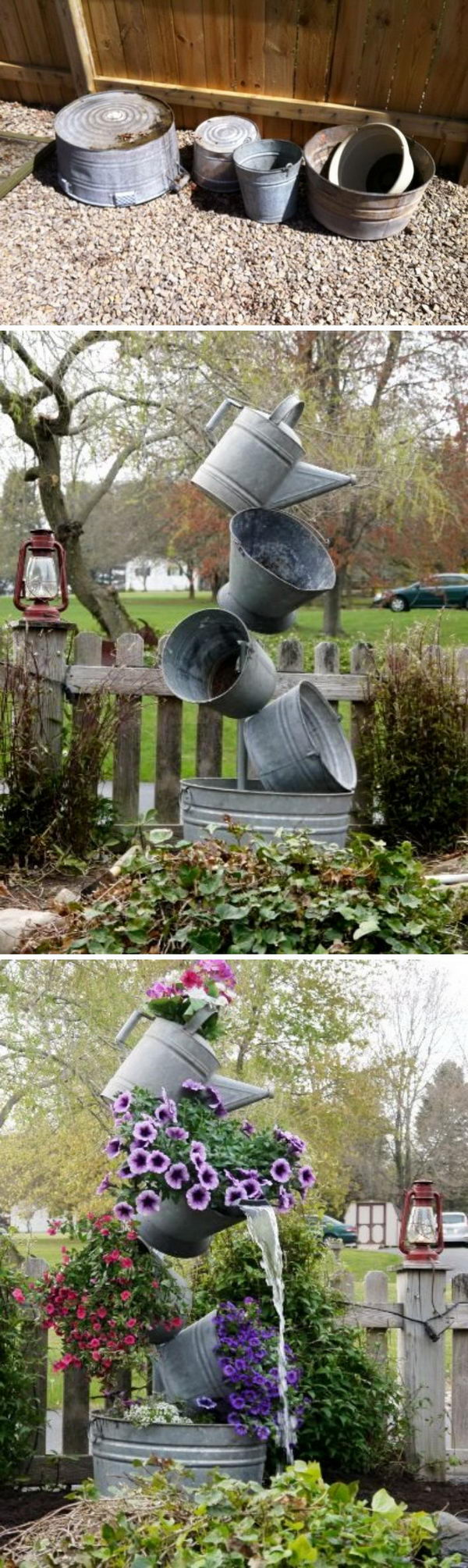 DIY Flower Tower Combining Tipsy Planters and Garden Fountains.