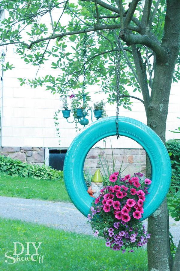 DIY Tire Flower Planter.