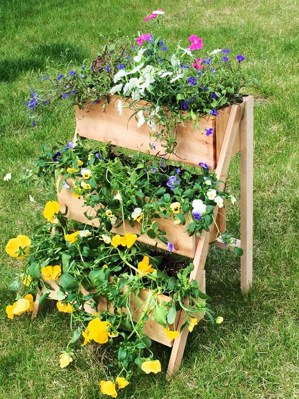 DIY Cedar Tiered Flower Planter.