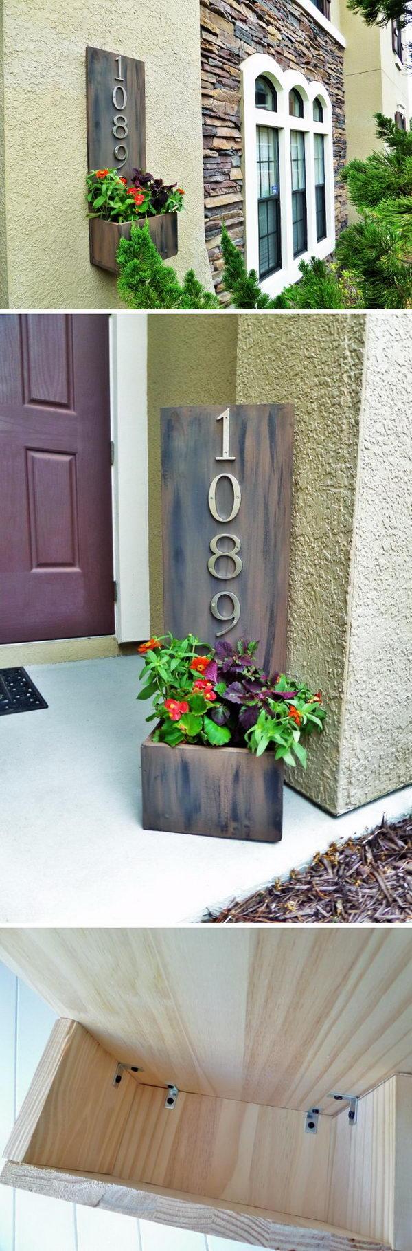 DIY Address Plaque Planter Box.