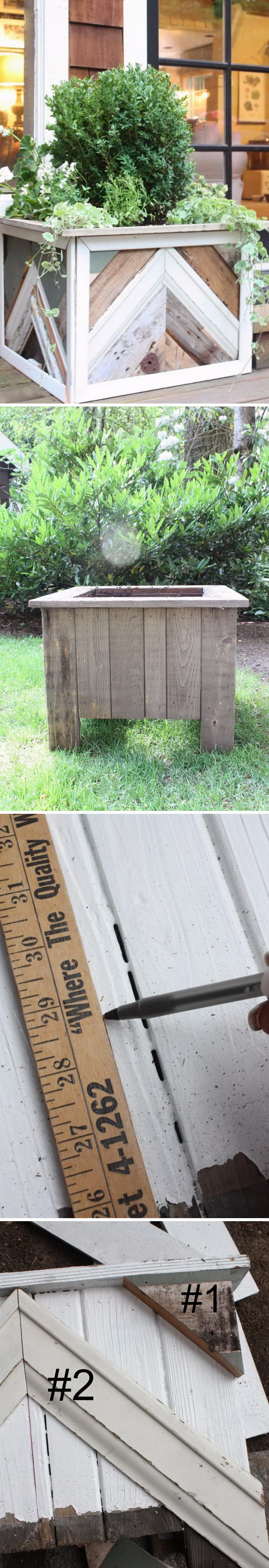 Reclaimed Wood Chevron Stripe Planter Boxes.