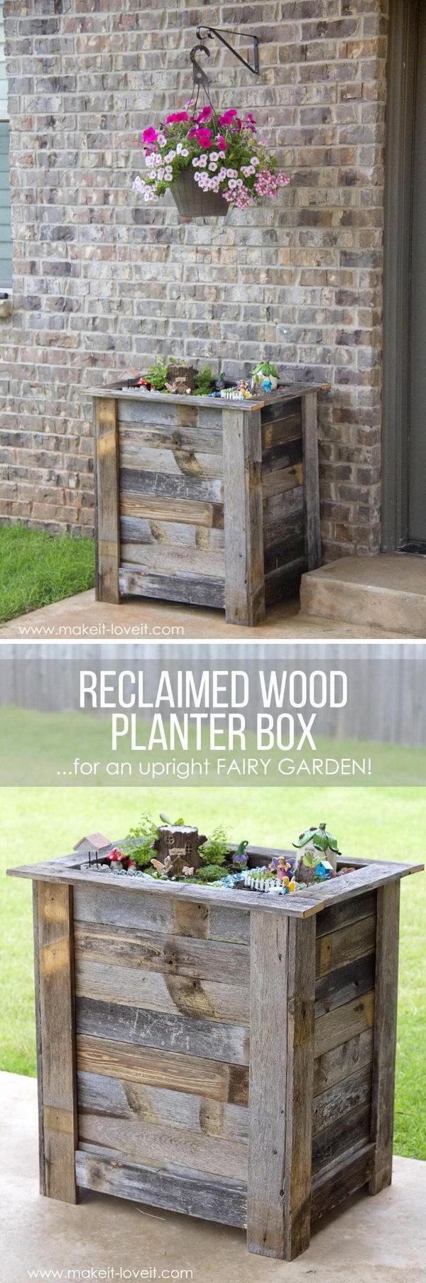 DIY Reclaimed Wood Planter Box for a Fairy Garden.
