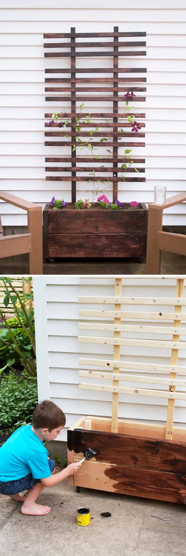 DIY Trellis Planter Box.