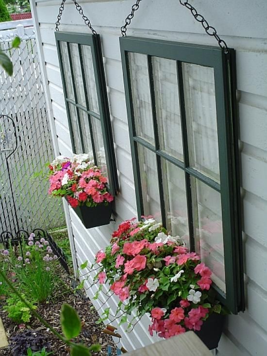 Repurposed Window Planter Boxes.