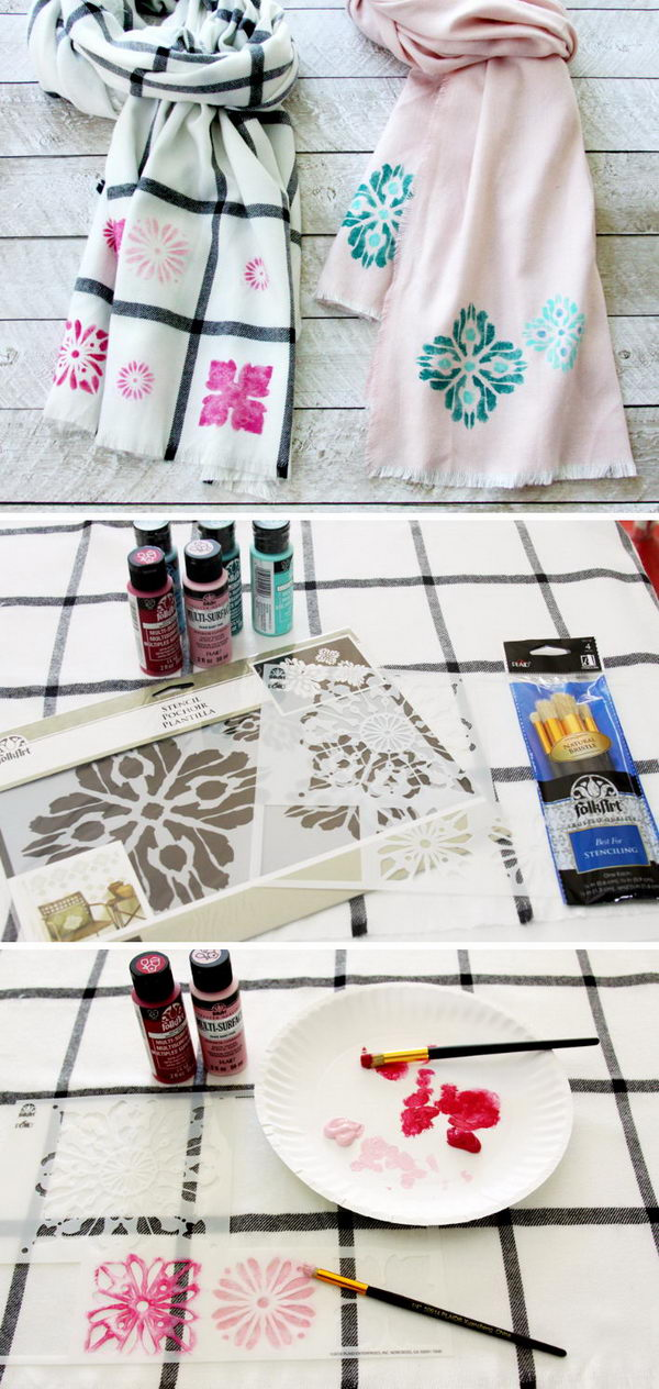 Easy DIY Stenciled Scarves.