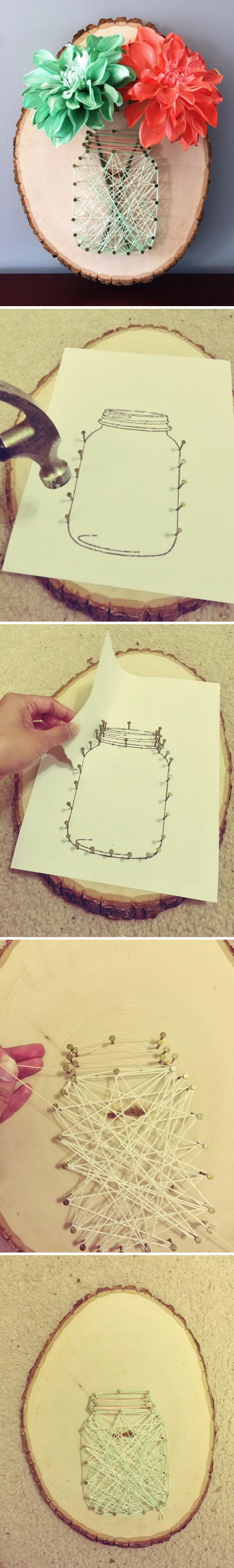 DIY Mason Jar String Art.